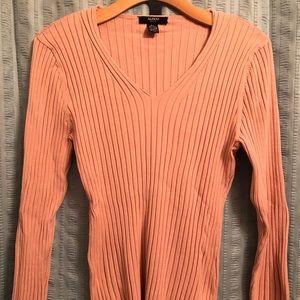 Alfani Petite Large Pink Ribbed Silk Sweater